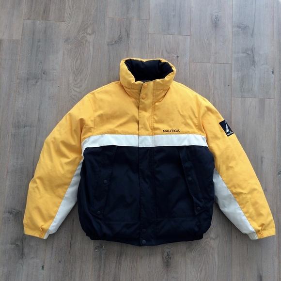 Nautica Jackets Coats Vintage 90s Yellow Reversible Down Jacket